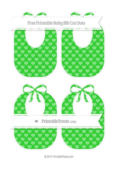 Free Lime Green Heart Pattern Medium Baby Bib Cut Outs