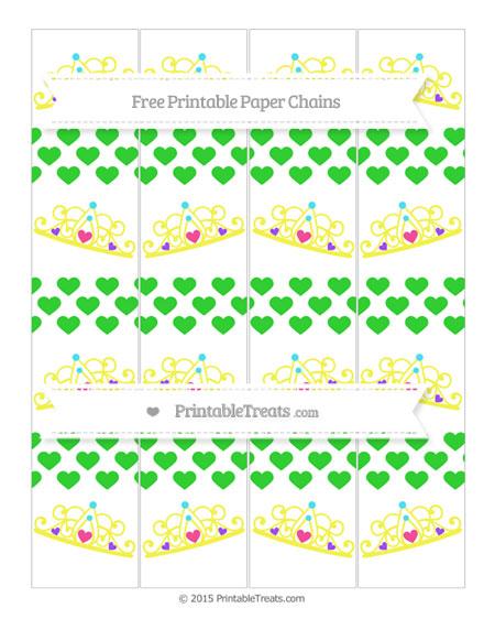 Free Lime Green Heart Pattern Princess Tiara Paper Chains