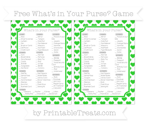 Free Lime Green Heart Pattern What's in Your Purse Baby Shower Game