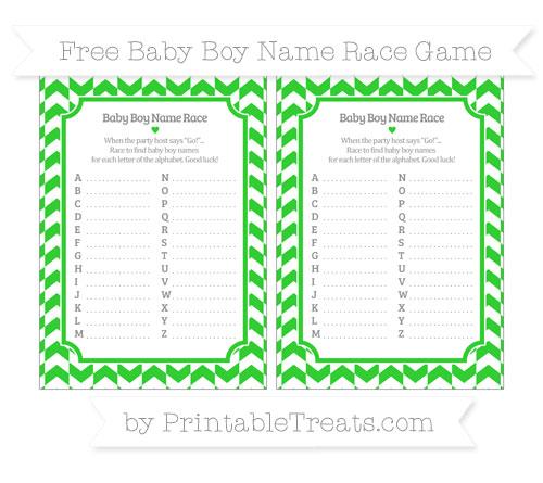 Free Lime Green Herringbone Pattern Baby Boy Name Race Game