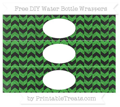 Free Lime Green Herringbone Pattern Chalk Style DIY Water Bottle Wrappers
