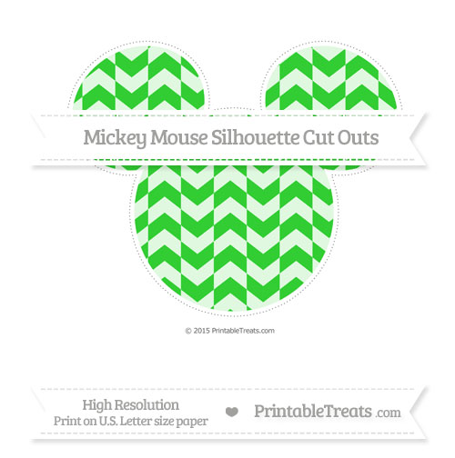 Free Lime Green Herringbone Pattern Extra Large Mickey Mouse Silhouette Cut Outs