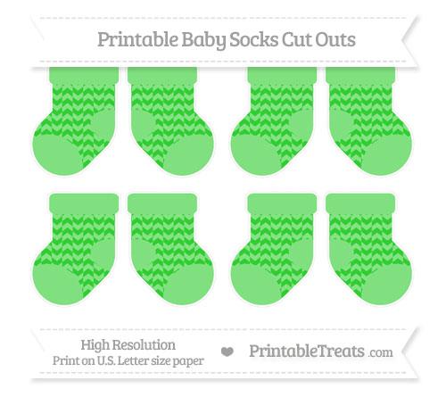 Free Lime Green Herringbone Pattern Small Baby Socks Cut Outs
