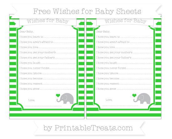 Free Lime Green Horizontal Striped Baby Elephant Wishes for Baby Sheets