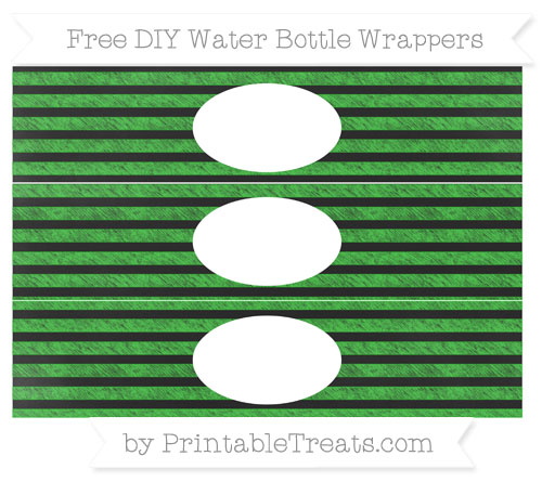 Free Lime Green Horizontal Striped Chalk Style DIY Water Bottle Wrappers