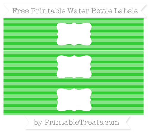 Free Lime Green Horizontal Striped Water Bottle Labels