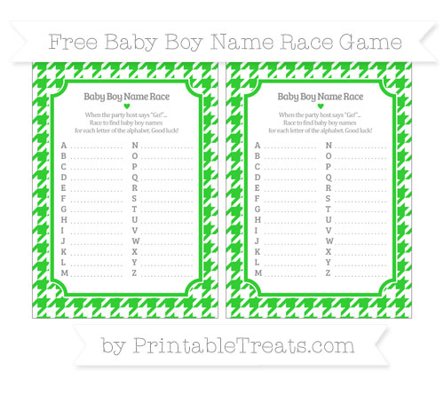 Free Lime Green Houndstooth Pattern Baby Boy Name Race Game