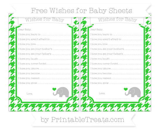 Free Lime Green Houndstooth Pattern Baby Elephant Wishes for Baby Sheets