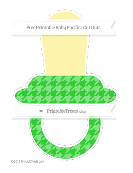 Free Lime Green Houndstooth Pattern Extra Large Baby Pacifier Cut Outs
