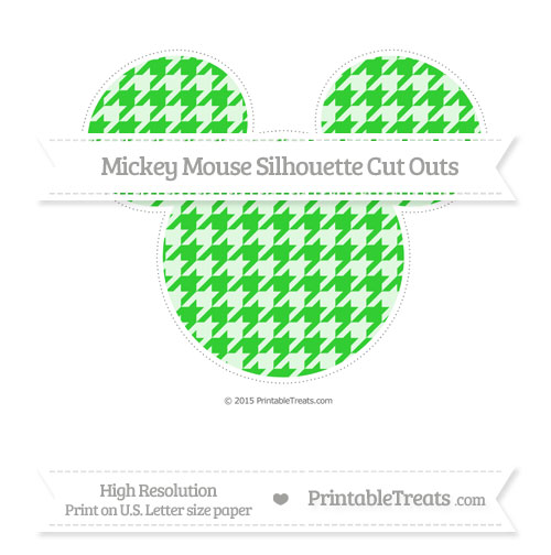 Free Lime Green Houndstooth Pattern Extra Large Mickey Mouse Silhouette Cut Outs