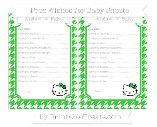 Free Lime Green Houndstooth Pattern Hello Kitty Wishes for Baby Sheets