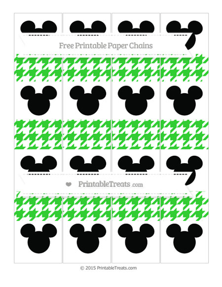 Free Lime Green Houndstooth Pattern Mickey Mouse Paper Chains