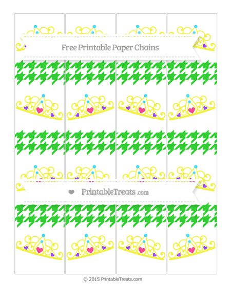 Free Lime Green Houndstooth Pattern Princess Tiara Paper Chains