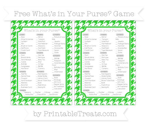 Free Lime Green Houndstooth Pattern What's in Your Purse Baby Shower Game