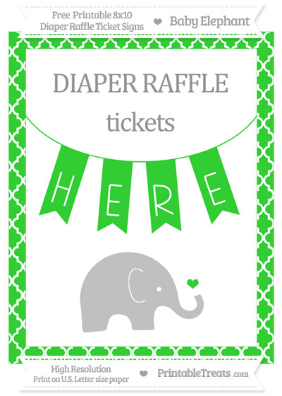 Free Lime Green Moroccan Tile Baby Elephant 8x10 Diaper Raffle Ticket Sign