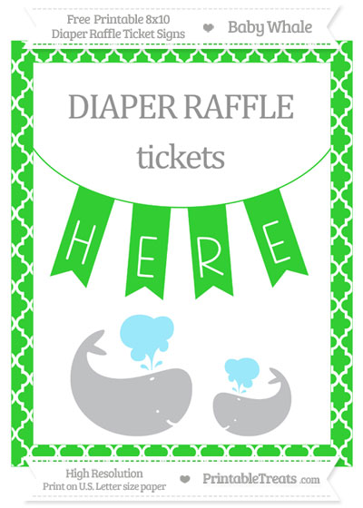 Free Lime Green Moroccan Tile Baby Whale 8x10 Diaper Raffle Ticket Sign