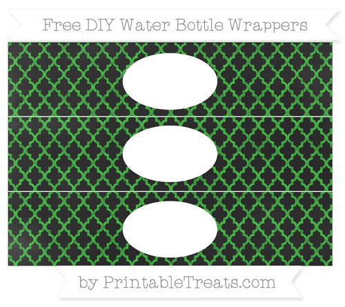Free Lime Green Moroccan Tile Chalk Style DIY Water Bottle Wrappers