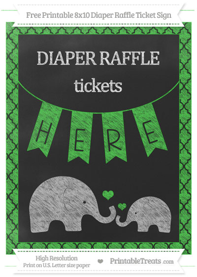 Free Lime Green Moroccan Tile Chalk Style Elephant 8x10 Diaper Raffle Ticket Sign