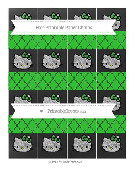 Free Lime Green Moroccan Tile Chalk Style Hello Kitty Paper Chains