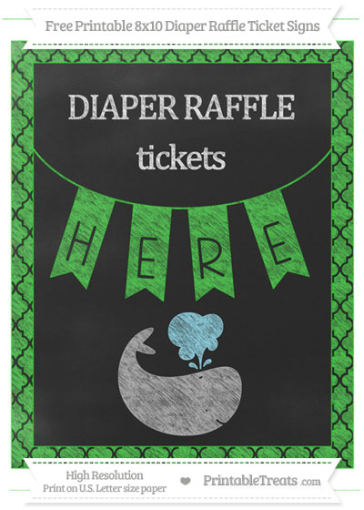 Free Lime Green Moroccan Tile Chalk Style Whale 8x10 Diaper Raffle Ticket Sign