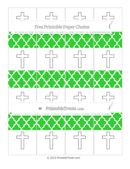 Free Lime Green Moroccan Tile Cross Paper Chains