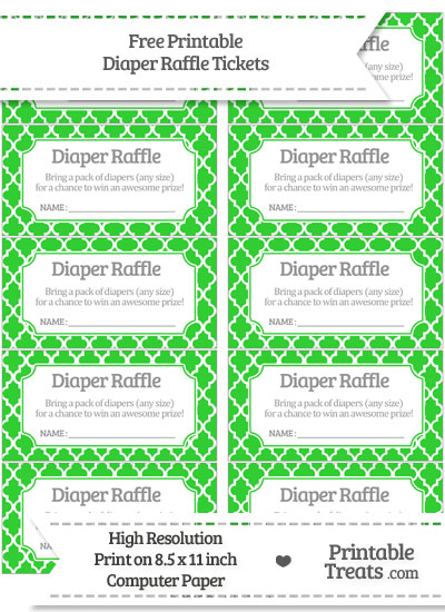 Free Lime Green Moroccan Tile Diaper Raffle Tickets