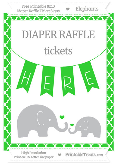 Free Lime Green Moroccan Tile Elephant 8x10 Diaper Raffle Ticket Sign