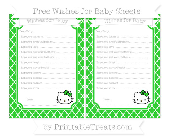 Free Lime Green Moroccan Tile Hello Kitty Wishes for Baby Sheets