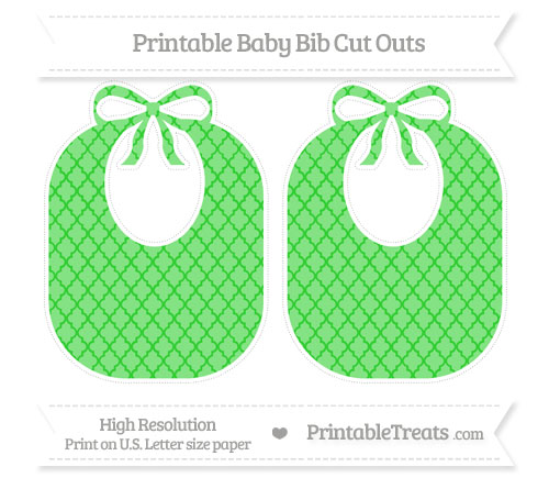 Free Lime Green Moroccan Tile Large Baby Bib Cut Outs