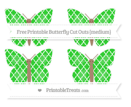 Free Lime Green Moroccan Tile Medium Butterfly Cut Outs