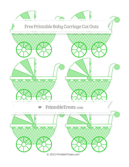 Free Lime Green Moroccan Tile Small Baby Carriage Cut Outs