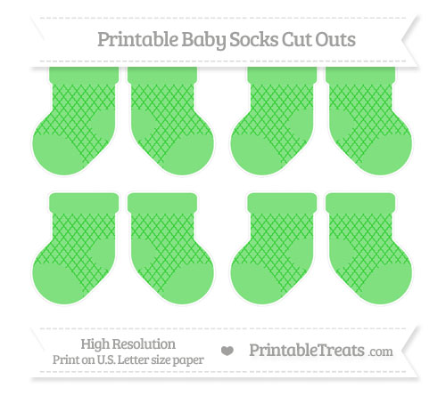 Free Lime Green Moroccan Tile Small Baby Socks Cut Outs