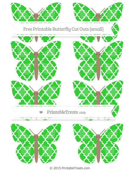 Free Lime Green Moroccan Tile Small Butterfly Cut Outs