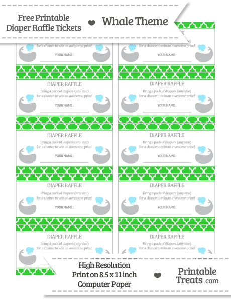 Free Lime Green Moroccan Tile Whale Diaper Raffle Tickets