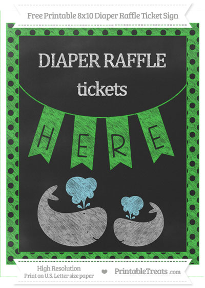 Free Lime Green Polka Dot Chalk Style Baby Whale 8x10 Diaper Raffle Ticket Sign