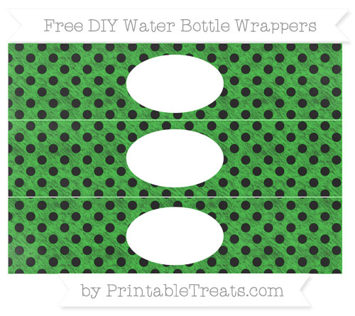 Free Lime Green Polka Dot Chalk Style DIY Water Bottle Wrappers