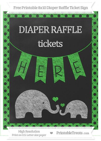 Free Lime Green Polka Dot Chalk Style Elephant 8x10 Diaper Raffle Ticket Sign