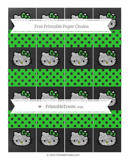 Free Lime Green Polka Dot Chalk Style Hello Kitty Paper Chains