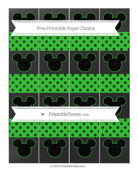 Free Lime Green Polka Dot Chalk Style Mickey Mouse Paper Chains