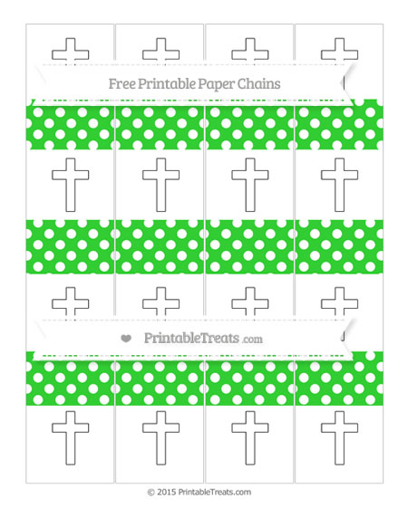 Free Lime Green Polka Dot Cross Paper Chains