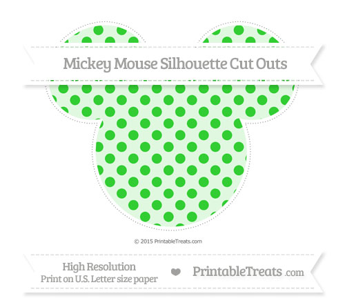 Free Lime Green Polka Dot Extra Large Mickey Mouse Silhouette Cut Outs
