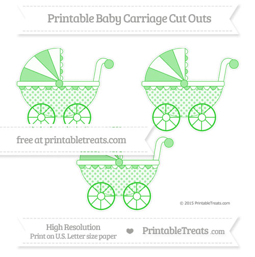 Free Lime Green Polka Dot Medium Baby Carriage Cut Outs