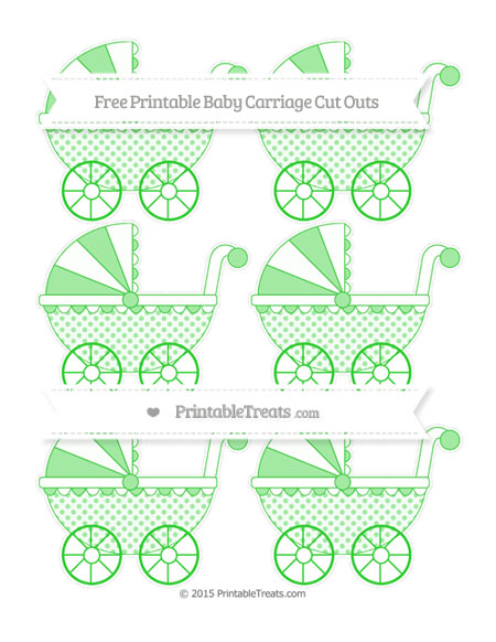 Free Lime Green Polka Dot Small Baby Carriage Cut Outs