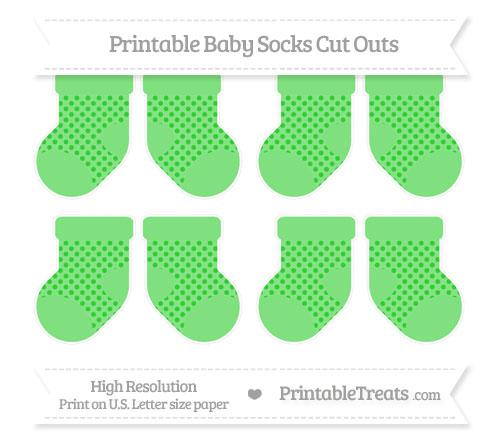 Free Lime Green Polka Dot Small Baby Socks Cut Outs