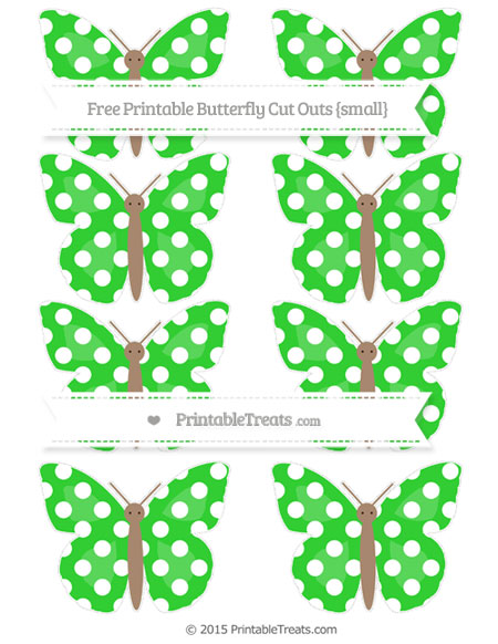 Free Lime Green Polka Dot Small Butterfly Cut Outs