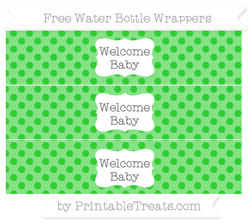 Free Lime Green Polka Dot Welcome Baby Water Bottle Wrappers