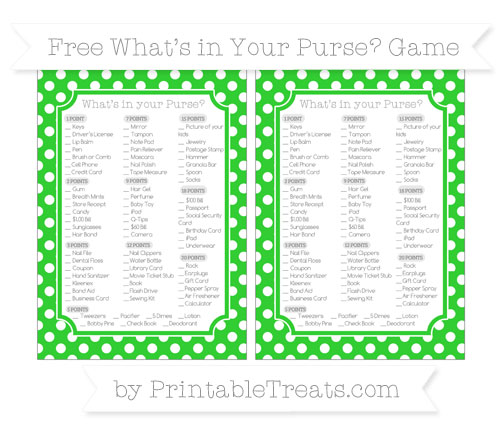 Free Lime Green Polka Dot What's in Your Purse Baby Shower Game