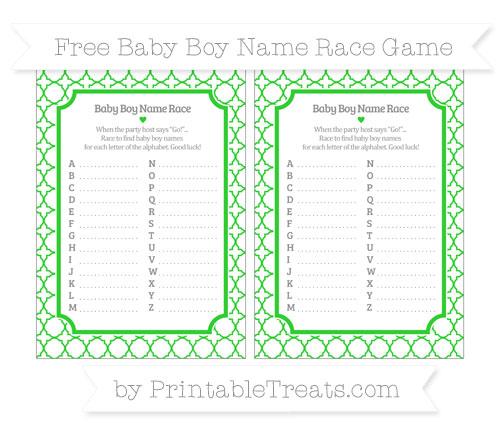 Free Lime Green Quatrefoil Pattern Baby Boy Name Race Game