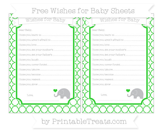 Free Lime Green Quatrefoil Pattern Baby Elephant Wishes for Baby Sheets