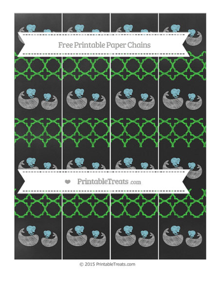 Free Lime Green Quatrefoil Pattern Chalk Style Baby Whale Paper Chains